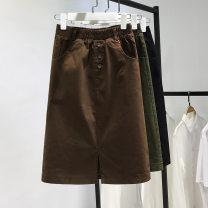 skirt Spring 2021 S,M,L,XL,2XL Black, green, brown, apricot, Grey Stripe, camouflage green Mid length dress commute High waist A-line skirt Solid color Type A Denim cotton Button, thread decoration, stitching, pocket Korean version