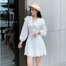 Dress Summer 2021 white S,M,L Short skirt singleton  Long sleeves commute V-neck High waist Solid color zipper A-line skirt bishop sleeve Type A Stitching, zipper, lace, hollow out six point two six
