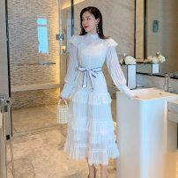 Dress Spring 2021 white S,M,L Mid length dress Two piece set Long sleeves Sweet stand collar High waist Solid color zipper Cake skirt camisole Type A Lace, zipper, lace ninety-nine point two