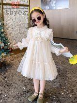 Dress Apricot female SZ sbyez 110cm,120cm,130cm,140cm,150cm,160cm Cotton 100% spring and autumn princess Long sleeves Solid color cotton A-line skirt Class A Six months, 2, 3, 4, 5, 6, 7, 8, 9, 10, 11, 12, 13, 14