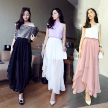 skirt Autumn 2020 One size (Chiffon quality Edition), large size (Chiffon quality Edition) White, black, pink, light green, violet Mid length dress commute High waist Irregular Solid color 25-29 years old Mid length skirt 71% (inclusive) - 80% (inclusive) Chiffon polyester fiber Korean version
