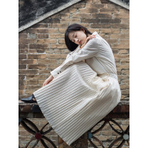 skirt Spring 2021 S,M,L Off white Mid length dress Versatile Natural waist Pleated skirt Solid color Type A 21A12 More than 95% cotton fold