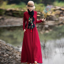 Dress Autumn of 2019 Black, crimson, model matching accessories need to be purchased separately S,M,L,XL longuette singleton  Long sleeves commute Half open collar middle-waisted Solid color Socket A-line skirt routine Others Type A Yingruyi language ethnic style pocket Q812 cotton