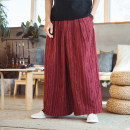Casual pants Others Fashion City Black, red M,L,XL,2XL,3XL routine trousers Home easy No bullet spring youth Japanese Retro 2021 Medium low back Straight cylinder washing stripe hemp hemp Fashion brand