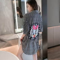 Nightdress Other / other black , blue , White letters , Black letter , Red jingle cat , Black jingle cat , White rabbit 165(L),170(XL) luxurious Short sleeve Leisure home Short skirt summer lattice youth Small lapel Iced silk printing More than 95% polyester fiber 200g and below