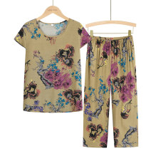 Middle aged and old women's wear Summer 2021 1, 2, 3, 4, 5, 6, 7 XL (about 85-105 kg recommended), XXL (about 105-120 kg recommended), 3XL (about 120-135 kg recommended), 4XL (about 135-155 kg recommended) leisure time suit easy Two piece set Flower and bird pattern Over 60 years old Socket thin