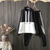 Fashion suit Autumn of 2019 XL (120-145 kg), 2XL (145-165 kg), 3XL (165-185 kg), 4XL (185-205 kg) black 81% (inclusive) - 90% (inclusive) cotton