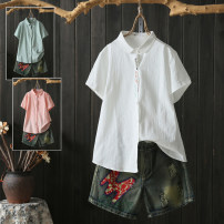 shirt White, pink, light green, green, big white, light pink XL,2XL,3XL,4XL Summer of 2019 cotton 96% and above Short sleeve Sweet Regular Polo collar Single row multi button routine Solid color Self cultivation Embroidery, buttons college