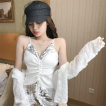 Vest sling Sequins Summer of 2019 have cash less than that is registered in the accounts Sweet Self cultivation camisole Solid color 6206 Other / other White, black One size fits all