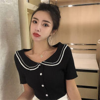 Wool knitwear Summer of 2019 Average size White, black Short sleeve singleton  Socket other 51% (inclusive) - 70% (inclusive) Regular Thin money commute Self cultivation Doll Collar Socket Korean version Other / other