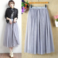 skirt Spring 2017 Skirt length 40cm (skirt), skirt length 65cm, skirt length 75cm, skirt length 80cm, skirt length 88cm, skirt length 90cm White quality version, gray quality version, black quality version longuette commute Natural waist Pleated skirt Solid color Type A Other / other Korean version