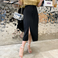 skirt Summer 2020 XL,2XL,3XL,4XL Black, khaki, green longuette Versatile High waist A-line skirt Solid color Type A 25-29 years old More than 95% other polyester fiber