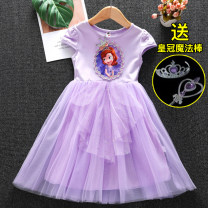Dress female Other / other 100cm,110cm,120cm,130cm,140cm Cotton 95% other 5% summer princess Short sleeve Cartoon animation cotton Splicing style 2 years old, 3 years old, 4 years old, 5 years old, 6 years old, 7 years old, 8 years old