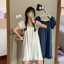 Nightdress Other / other White, blue Average size Sweet Short sleeve Leisure home Middle-skirt summer Solid color youth other 21% (inclusive) - 40% (inclusive) other