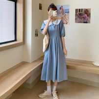 Dress Summer 2021 Light blue, denim blue Average size longuette other Short sleeve commute Doll Collar High waist other Socket Big swing other 18-24 years old Type A Korean version 30% and below other other