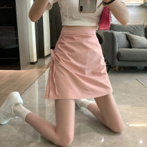 skirt Summer 2021 S,M,L White, pink, black Short skirt commute High waist A-line skirt Solid color Type A 18-24 years old 30% and below Pleating Korean version