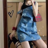 Dress Summer 2021 blue Average size Short skirt singleton  Sleeveless commute One word collar Loose waist Cartoon animation Socket camisole 18-24 years old Type H Korean version 30% and below