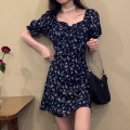 Dress Summer 2021 Picture color S,M,L Short skirt singleton  Short sleeve commute square neck High waist Broken flowers Socket A-line skirt puff sleeve 18-24 years old Type A Korean version Ruffle, print 30% and below other