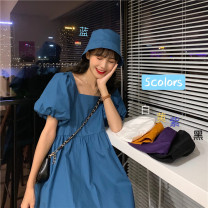 Dress Summer 2021 Average size Middle-skirt Two piece set Short sleeve commute square neck Loose waist Solid color Socket Big swing puff sleeve 18-24 years old Type A Retro 30% and below other other