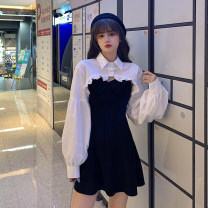 Dress Spring 2021 Average size Short skirt Two piece set Long sleeves commute Polo collar High waist Solid color Socket A-line skirt routine Others 18-24 years old Type A Korean version 30% and below other other