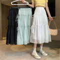 skirt Summer 2021 Average size White, blue, black Mid length dress commute High waist A-line skirt Solid color Type A 18-24 years old 30% and below other other Korean version