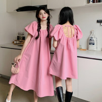 Dress Summer 2021 Pink long, pink short, black long, black short Average size Middle-skirt singleton  Short sleeve commute square neck Loose waist Solid color Socket puff sleeve Others 18-24 years old Type A Korean version 30% and below