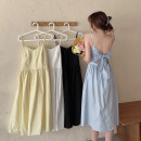 Dress Summer 2021 White, blue, yellow, black Average size Mid length dress singleton  Sleeveless commute V-neck High waist Solid color Socket A-line skirt camisole 18-24 years old Type A Korean version Bow, open back 30% and below