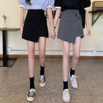 skirt Summer 2021 S,M,L,XL Gray, black Short skirt commute High waist Pleated skirt Solid color Type A 18-24 years old 30% and below