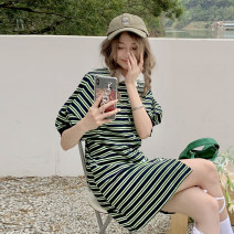 Dress Summer 2021 green Average size Short skirt singleton  Short sleeve commute Polo collar High waist stripe Single breasted A-line skirt puff sleeve 18-24 years old Type H Korean version 30% and below other other