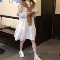 Dress Spring 2021 Average size Middle-skirt singleton  Long sleeves commute Polo collar Loose waist Solid color Single breasted Big swing shirt sleeve Others 18-24 years old Type H Korean version 30% and below other other