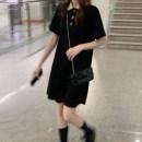 Dress Summer 2021 Black, pink Average size Short skirt singleton  Short sleeve Polo collar Loose waist Socket routine 18-24 years old Type H 30% and below