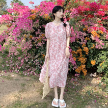 Dress Summer 2021 Purple, pink Average size longuette singleton  Short sleeve commute Crew neck High waist Decor Socket other puff sleeve 18-24 years old Type A Korean version 30% and below other other