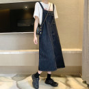 Dress Spring 2021 navy blue S,M,L Mid length dress singleton  Sleeveless commute square neck Loose waist straps 18-24 years old Type H Korean version 30% and below