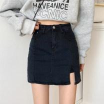 skirt Summer 2021 S,M,L Khaki, black Short skirt commute High waist A-line skirt Type A 18-24 years old 30% and below zipper Korean version