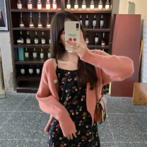 Dress Spring 2021 Khaki suspender skirt, black suspender skirt, orange pink cardigan, cream apricot cardigan Average size longuette Two piece set Sleeveless commute other High waist Broken flowers Socket A-line skirt routine camisole 18-24 years old Type A Korean version 30% and below