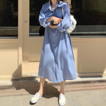 Dress Spring 2021 stripe Average size Mid length dress singleton  Long sleeves commute Polo collar Loose waist Single breasted 18-24 years old Korean version 30% and below