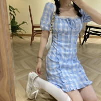 Dress Summer 2021 The sky is blue S, M Short skirt singleton  Short sleeve commute square neck High waist lattice Socket A-line skirt puff sleeve 18-24 years old Type H Korean version 30% and below other other