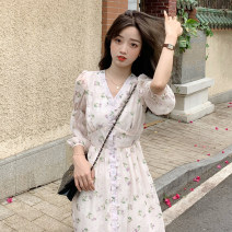 Dress Spring 2021 Light pink top, light pink dress S. M, average size Middle-skirt singleton  Nine point sleeve commute V-neck High waist Broken flowers Single breasted A-line skirt routine Others 18-24 years old Type A Korean version 30% and below other other