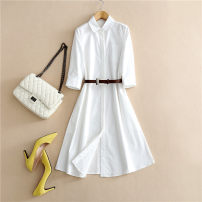 Dress Summer of 2019 Black, white S,M,L,XL singleton  elbow sleeve commute Polo collar Loose waist Solid color Single breasted A-line skirt routine Others Lace up, panel, button