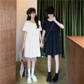 Dress Summer 2021 Apricot, black Average size Mid length dress singleton  Short sleeve commute Doll Collar High waist Solid color Socket routine Others 18-24 years old Type H Retro other