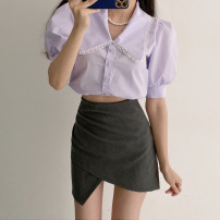 skirt 81% (inclusive) - 90% (inclusive) nylon Summer 2021 Short skirt High waist commute skirt Solid color 25-29 years old Type O brocade Korean version XS,S,M,L Grey, black