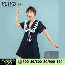 Dress Summer 2021 blue S M L Middle-skirt singleton  Short sleeve commute Admiral High waist Solid color Socket A-line skirt routine Others 25-29 years old Type A Keiko / kellio Korean version Three dimensional decoration of pleated auricular lace K-21A70677 91% (inclusive) - 95% (inclusive)