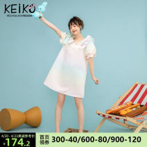 Dress Summer 2021 Decor pre sale May 3 S M L Middle-skirt singleton  Short sleeve commute V-neck High waist other Socket A-line skirt puff sleeve Others 25-29 years old Type A Keiko / kellio Korean version Three dimensional decorative Sequin printing with bow fold and Auricularia auricula stitching