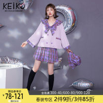 Fashion suit Spring 2021 S M L XL Grape purple top grape purple skirt 18-25 years old Keiko / kellio K-21A96774 Polyethylene terephthalate (polyester) 100% Exclusive payment of tmall