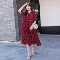 Women's large Summer 2020 gules 2XL,3XL Dress singleton  street easy thin Socket Short sleeve Medium length polyester 25-29 years old longuette