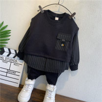 suit Other / other Black, black (Tang Mao full letter suit), white (Tang Mao full letter suit), black (plush) 90cm,100cm,110cm,120cm,130cm,140cm male spring and autumn Long sleeve + pants 2 pieces routine No model Socket nothing cotton Expression of love TTH006 Class B Cotton 100%