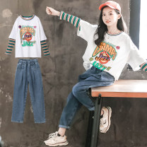 suit Other / other white 120cm,130cm,140cm,150cm,160cm,170cm female spring and autumn Korean version Long sleeve + pants 2 pieces routine There are models in the real shooting Socket nothing other other children Giving presents at school 20CT21-21 Class B Other 100%