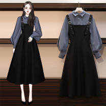 Dress Spring 2021 Black suspender skirt, white shirt, blue shirt, white shirt + suspender skirt, blue shirt + suspender skirt M,L,XL,2XL,3XL,4XL longuette Two piece set Long sleeves commute Polo collar middle-waisted Solid color other A-line skirt puff sleeve straps 18-24 years old Type A Miaoludie