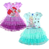 Dress Lavender, purple Mermaid, mint, fresh ice and snow female Other / other Label, m, 7-8 years old, about 130, defective label, l, 10-12 years old, about 140, label, XS, 4-5 years old, about 110, label, s, 6-6X years old, about 120 Cotton 60% polyester 40% summer Cartoon Short sleeve cotton 1704-4