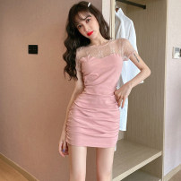 Dress Summer 2020 Pink, black S,M,L,XL Short skirt singleton  Short sleeve commute Crew neck High waist Solid color Socket Pencil skirt routine Others Type H Korean version Stitching, lace . 31% (inclusive) - 50% (inclusive) Lace cotton